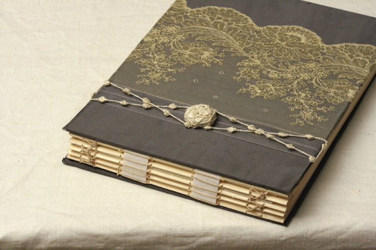 Custom Photo Album, Wedding Memory Book,  Glassine Paper, Slate Gray or Black and Ivory, Antique Alencon Lace. $245.00, via Etsy.