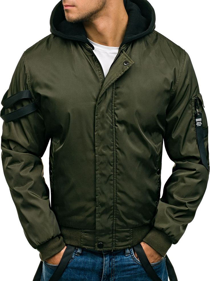 Green men's jacket Manufactured for Bolf by Nature The model (182 cm, 82 kg) is wearing size XL Fabric: 100% Polyester