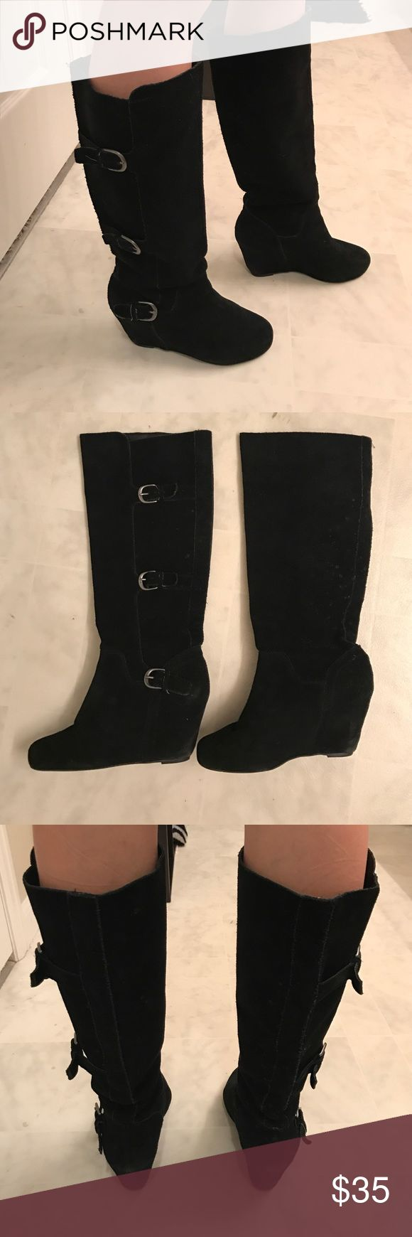 Black suede wedge boots Comfy black suede boots. Worn DV by Dolce Vita Shoes Wedges