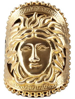 A 1990s' Versace cuff depicting the head of Medusa, symbol of Versace and, as the gorgoneion, of protection from evil. (Grazia)