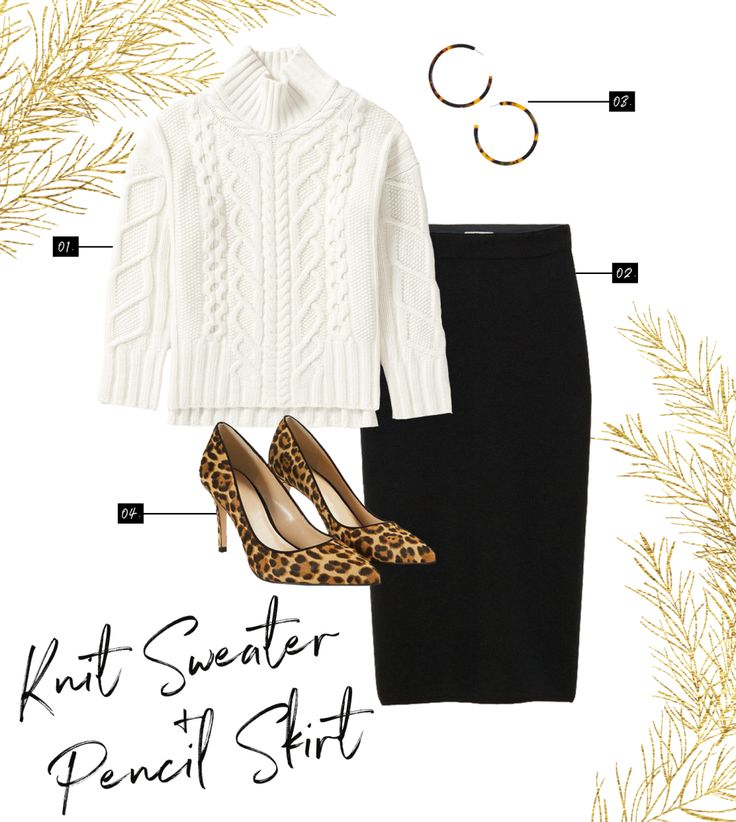 3 holiday outfits you can put together with items you already own - that's holiday outfit inspiration at its best. Pull out your favorite cable knit sweater and your black pencil skirt then add some fun accessories like leopard print heels. Shop this look at Everlane, Aritzia, J. Crew, and Ann Taylor.