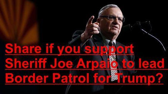 "Twitter Censors Tweet Promoting Sheriff Joe Arpaio as Head of Border Patrol – Calls It ""Hate Speech"" 11/19/16"
