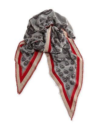 Alexander McQueen Ribbon-Border Triangular Skull Scarf, Gray/Red
