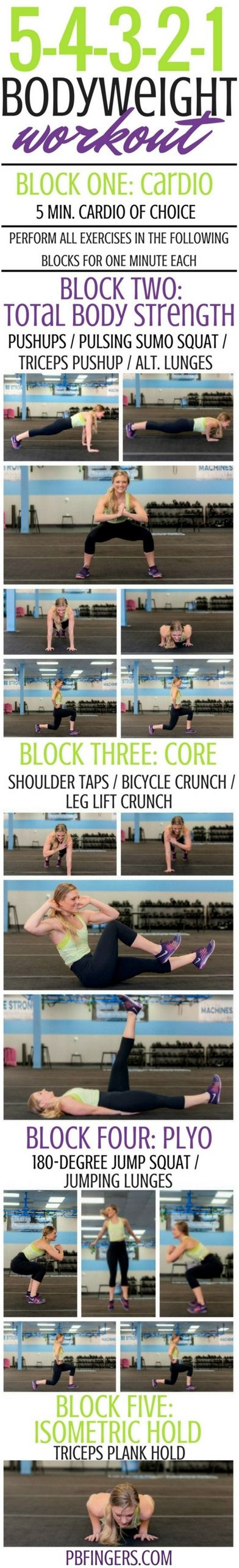 5-4-3-2-1 Bodyweight Workout http://www.pbfingers.com/decreasing-reps-bodyweight-workout-2/ A challenging total body workout that keeps things moving! No equipment required. Perfect travel or at home workout!