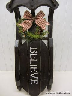 Great idea for my miniature sleds.  Simply Country Life: Wood Christmas Sled Mini Makeover