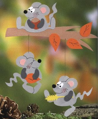 mouse with leaves - autumn paper craft pattern
