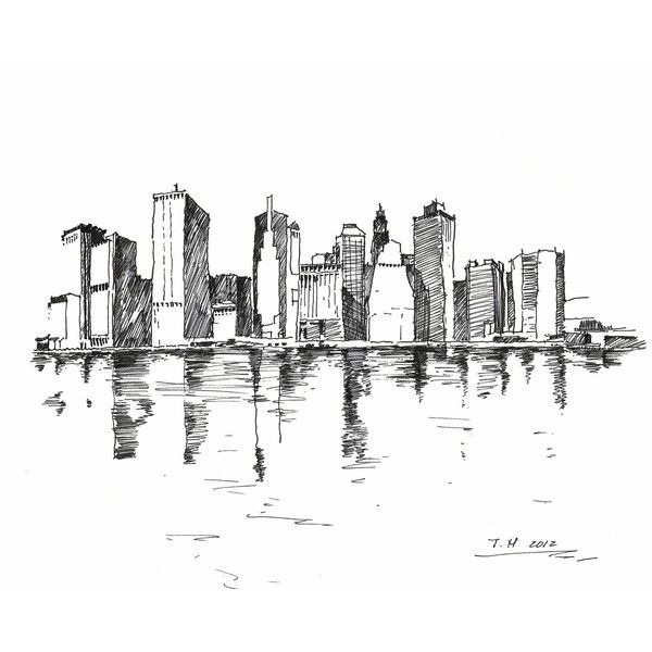 Marker Portraits (New York City Skyline) - 8 in x10 in ($40) ❤ liked on Polyvore featuring backgrounds, drawings, doodle, sketches, art and scribble