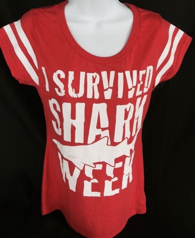 New Shark Week Discovery Channel Red T-shirt I Survived Women's Sz L 11/12 #DiscoveryChannel #GraphicTee