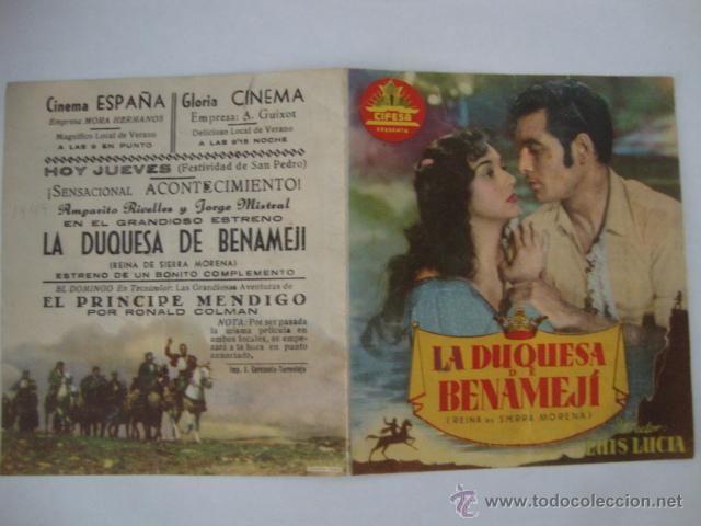 ANTIGUO FOLLETO MANO LA DUQUESA DE BENAMEJI, PROGRAMA DOBLE, CINEMA ESPAÑA AÑOS 40/50