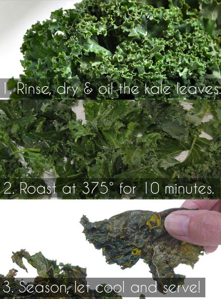 failed the first go-round; the trick is to put clean kale leaves in a bowl and add a few tablespoons of olive oil, season to taste, mix and bake for 7 to 10 mins;  yummo!!