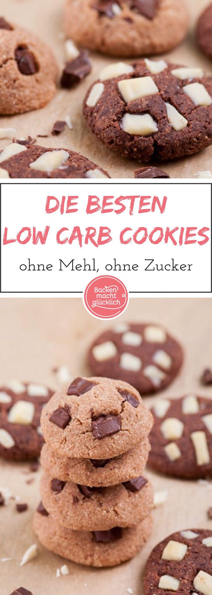 Köstliche, softe Low Carb Cookies ohne Zucker und Mehl, die überhaupt nicht nach Verzicht schmecken! Die gesunden Cookies sind auch für Diabetiker und Menschen mit Glutenintoleranz geeignet. Am besten  die zuckerfreien Schoko-Kekse noch lauwarm oder direkt aus dem Tiefkühlfach genießen.
