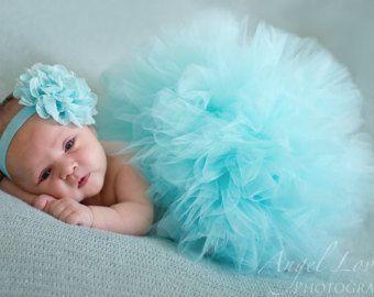 Aqua tulle tutu, matching headband, newborn photo prop, newborn tutu ,baby gift, newborn picture outfit