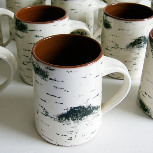 Birch bark coffee mugs.