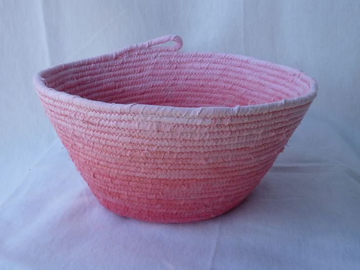 Ombré bowl made with hand dyed fabric and rope