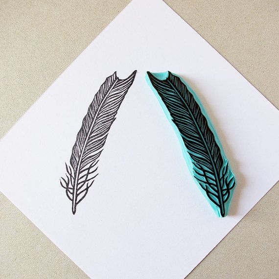 Hand carved rubber stamp of a feather  stamp it on by CassaStamps, $13.00