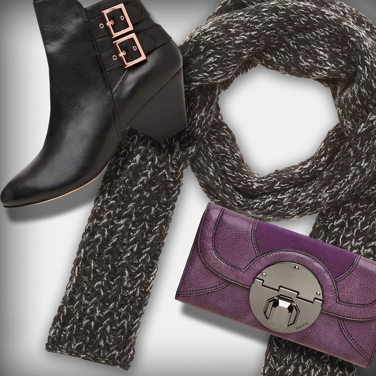 Mimco - Lavena Ankle Boot $299.00. Stand off Wallet  $229.00. Beatrix Scarf $69.95.
