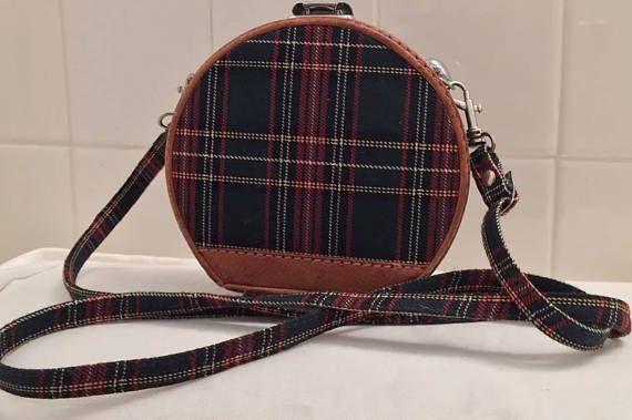 1990's Plaid Tartan Style Handbag Round Hard Case Shouldr