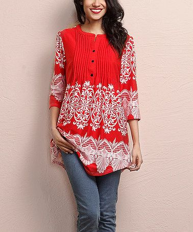 Another great find on #zulily! Red Lace-Print Notch Neck Pin Tuck Tunic #zulilyfinds