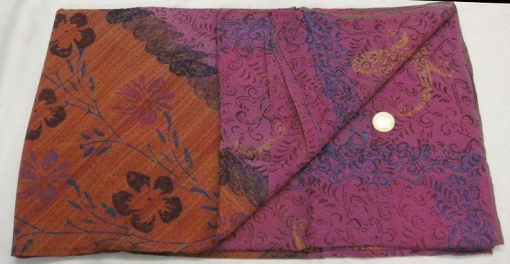 Vintage 100% Pure Crepe Silk Saree Multi Color Floral Printed Sari Craft Flower  #Unbranded