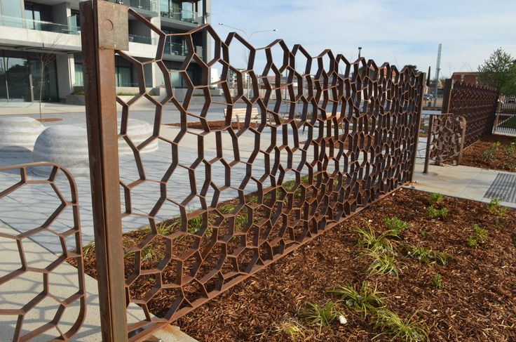 Corten steel screen. Kingston Foreshore, Canberra