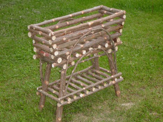 Maine Rustic Cedar Plant Stand by logcabindecor on Etsy, $125.99