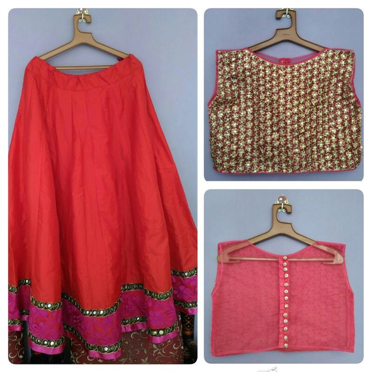 Red skirt with embroidered crop top with transparent back with heavy buttons Price-4500/-