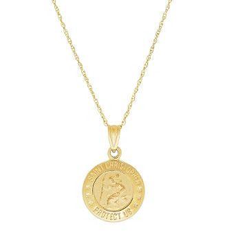 14K Yellow Gold St.Christopher Medal Pendant