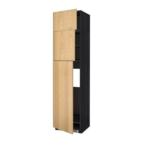 METOD Högskåp för kylskåp med 3 dörrar, svart, Ekestad ek trämönstrad svart Ekestad ek 60x60x240 cm