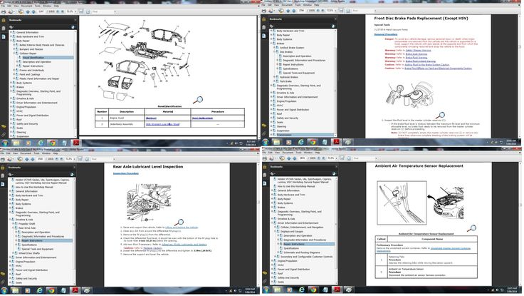 Preview pages of Holden VF/WN Sedan, Ute, Sportwagon, Caprice & HSV Workshop Manual