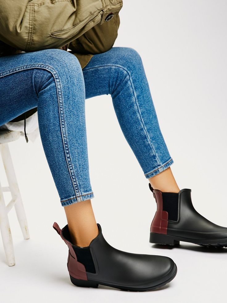 Hunter Chelsea Rain Boots   Bad weather can't stop you when you're wearing these super sleek slip-on rain boots. Pull-tab in back and side goring for an easy on-off. Quick-dry lining.