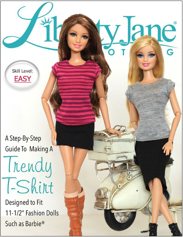 """FREE T-Shirt Pattern For 11-1/2"""" Fashion Dolls Like Barbie - http://www.pixiefaire.com/collections/free-doll-clothes-patterns/products/free-t-shirt-for-11-1-2-fashion-dolls"""