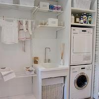 Deulonder - laundry/mud rooms - concealable laundry room, bi-fold doors, louvered doors, louvered bi-fold doors, hardwood floors, light hard...