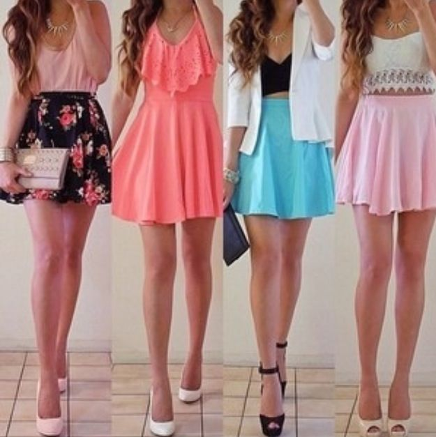 Casual outfits | floral skirt pink top | peach dress | white blazer black top blue skirt | white ...