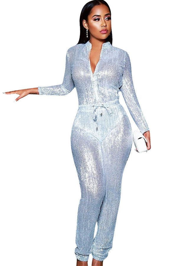 5ae2e9260 Hualong Sexy Night Club Long Sleeve Silver Sequin Jumpsuit #women #fashion  #overalls #jumpsuit #outfits #bodysuit #fitness #club #partyideas #playsuit