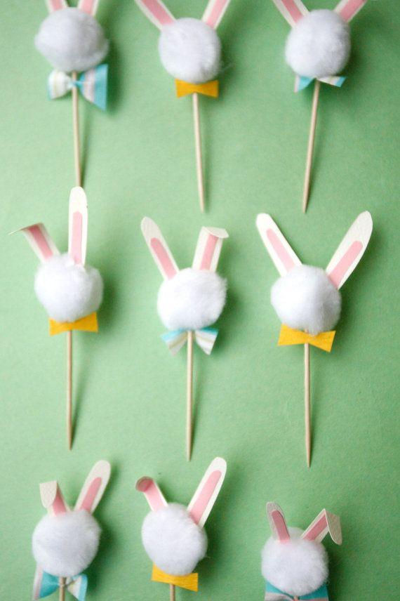 bunny rabbit pompom cupcake toppers