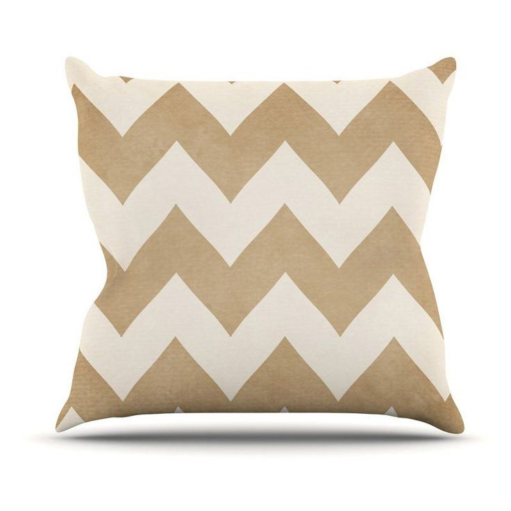 Kess InHouse Catherine McDonald Chevron Outdoor Throw Pillow Biscotti and Cream - CM1045AOP02