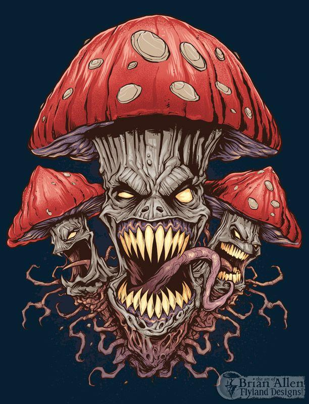 Evil Mushroom and Pot Leaf T-Shirt Illustrations on Behance