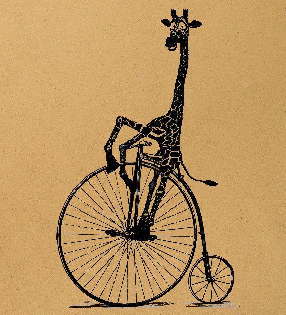Giraffe on a bike Digital Image Download Sheet Transfer To Pillows T-Shirt Towels Burlap Bag, Item A0250. $2.00, via Etsy.