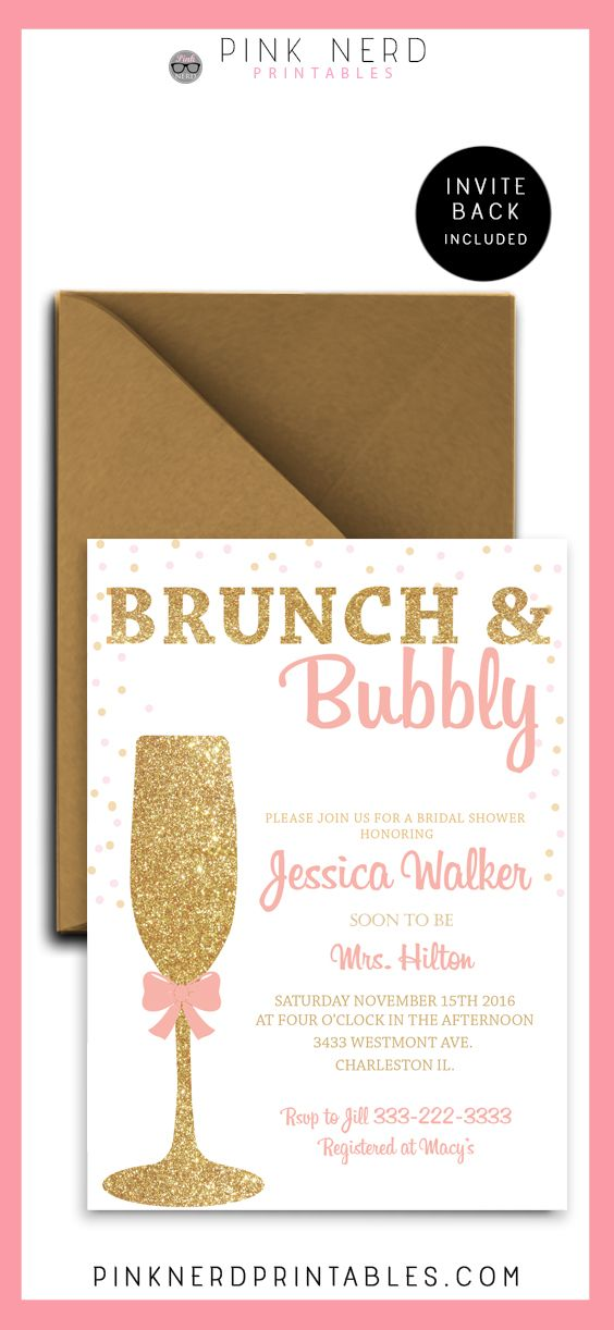 Bridal shower invitation, glitter bridal shower, gold champagne glass, pink and…