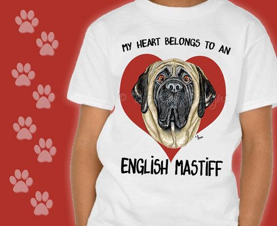 Customizable ENGLISH MASTIFF TSHIRT.  My Heart Belongs to an English Mastiff. Rescue Tshirt.  Cute Mastiff Shirt. Mastiff T-Shirt.