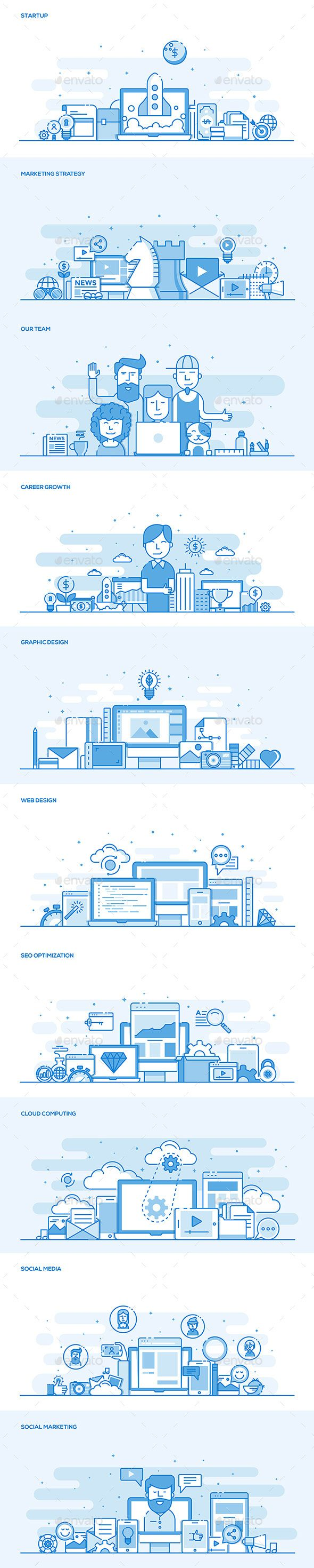 Set of Flat Line Color Banners by graphics4u Set of Flat Line Color Banners Design Concept on various topics of Business, Banking, Career, Team, Seo, Coding, Travel, Vacation,