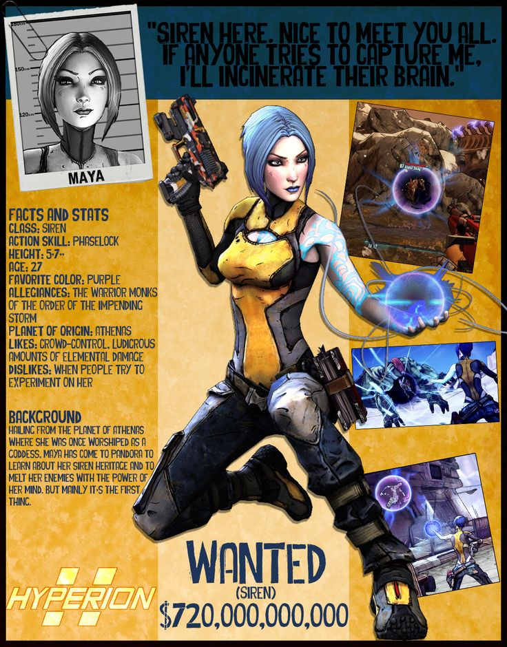 Borderlands 2 Wanted Posters - Maya by NerdscapeDesigns on Etsy https://www.etsy.com/listing/291326887/borderlands-2-wanted-posters-maya