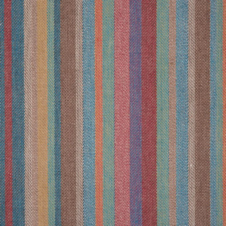 """Reminiscent of fabrics used for Southwestern, Native, Spanish and Mexican styled hoodies or ponchos, here is a beautiful blue, red, orange barcode striped cotton woven produced for upholstery purposes. This simple striped fabric is lively, energetic and dynamic ideal for youthful settings or adding a little color to a naturally hued room. This opaque twill feels soft, yet textural. Laying at 54"""" in width, take this dramatic barcode stripe and create outdoor seating, indoor ottomans, or…"""
