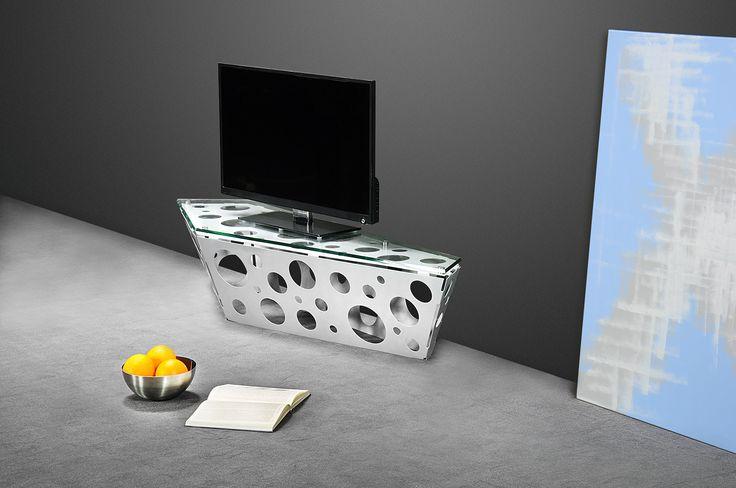 Luna TV #TVstand #design by Lestrocasa Firenze #interiordesign #home #steel #modern #glass #Lestrocasa