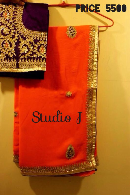 Heavy blouse gota work saree