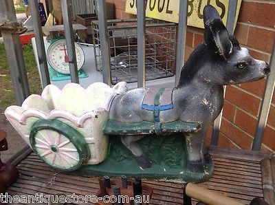 Retro Vintage Aust Kitsch C1950s Concrete Donkey Amp Cart