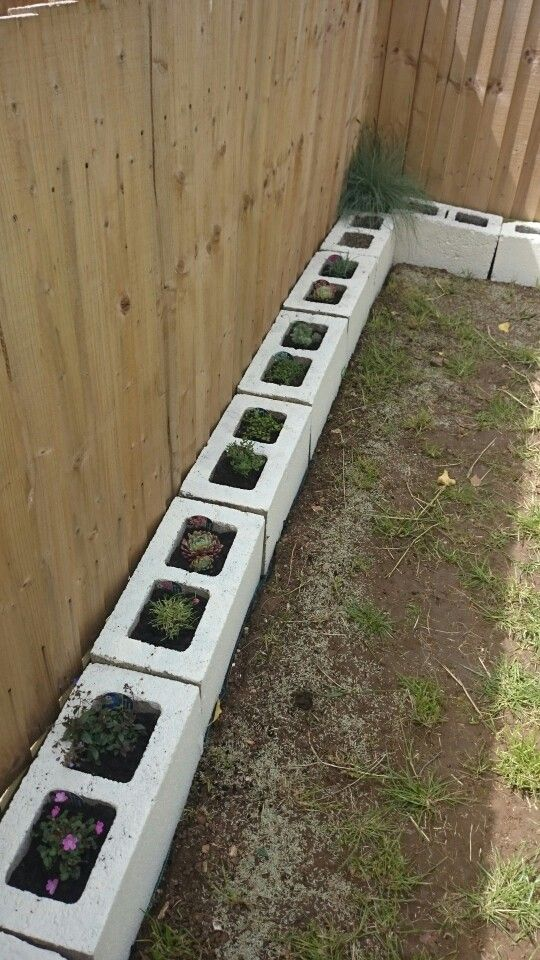 Use Cinder Blocks As A Raised Border Amp Fill With Rockary