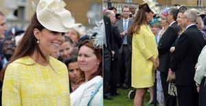 Kate Middleton usa casaco de mais de mil libras em festa da rainha - Com look amarelo, Kate Middleton deixa de lado os looks baratos e aposta em casaco de grife para a festa no jardim do palácio da rainha Elizabeth II