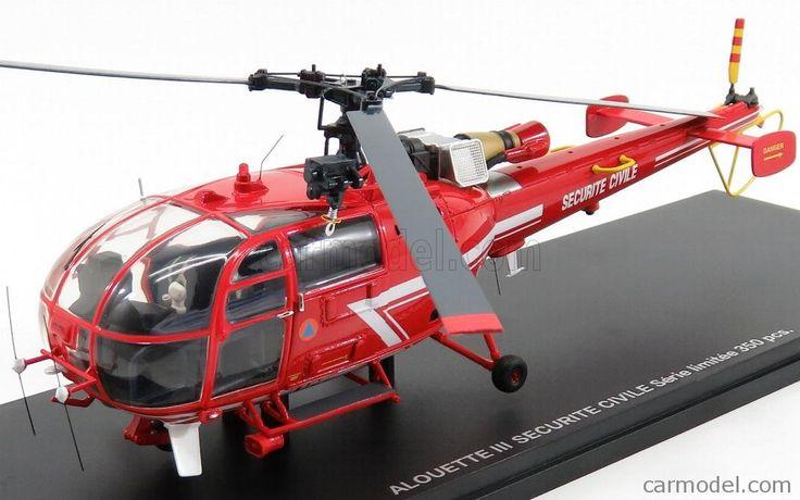 ALERTE ALERTE0054 Scale 1/43  SUD AVIATION ALOUETTE III SA316 HELICOPTER SECURITE CIVILE 1962 RED