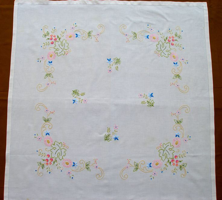 Vintage Hand Embroidered Square Tablecloth Pastel Floral Cotton with Hemstitch by VintageHomeStories on Etsy #Vintage #Embroidery #tablecloth #floral #pastel #tableDecor #Dining